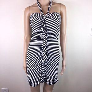 Bebe B&W Striped Bodycon Halter Dress w/ Ruffles